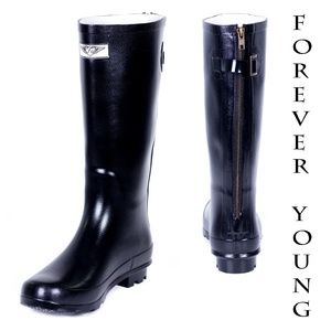 Women Tall Matte Zipper Rainboots, #1412, Black